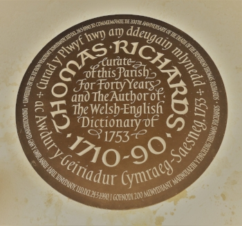 Plaque to Thomas Richards, author of the first Welsh - English dictionary