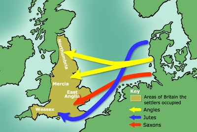 The invasion of Britain by tribes from Northern Europe