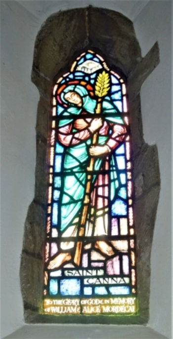Stained glass window dedicated to Saint Canna