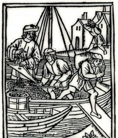 Depiction of trading boats