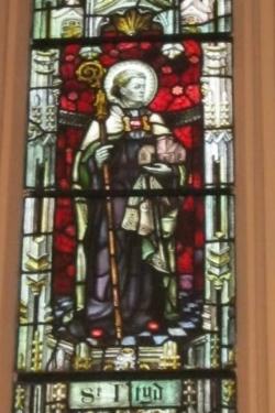 Stained Glass window of St Illtud, LLantwhit Major