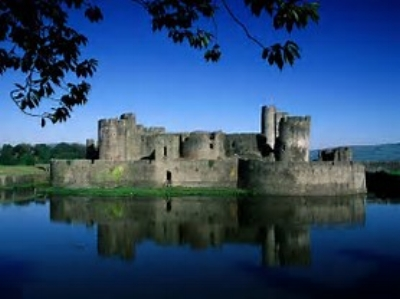 Caerphilly Castle, built by the powerful De Clare family