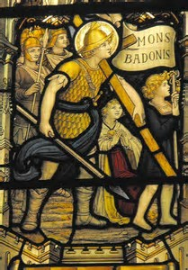 Stained Glass window depicting Arthur carrying the Cross of Christ at the battle of Mount Baden