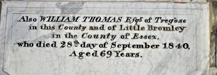 Plaque to William Thomas of Tregose in 1840